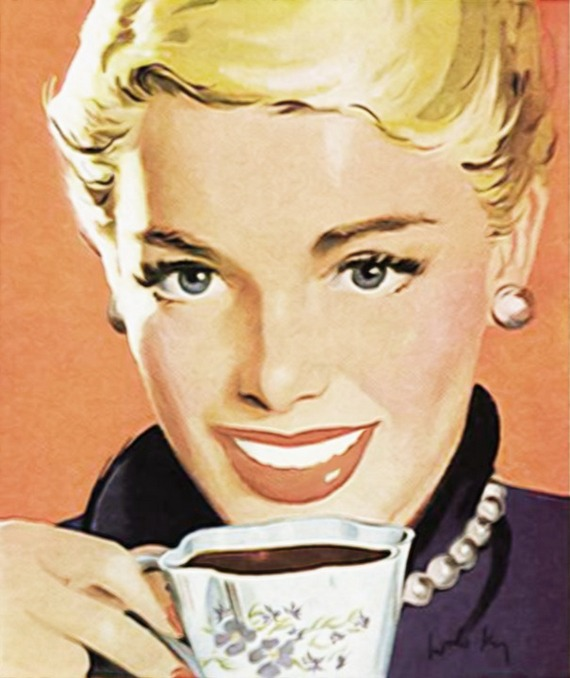 Woman drinking black coffee