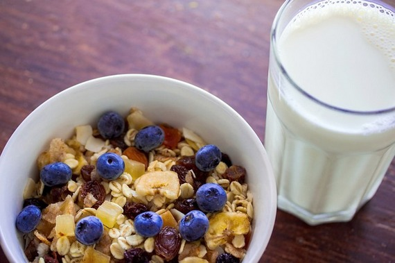 Bowl of cereala and glass of milk.